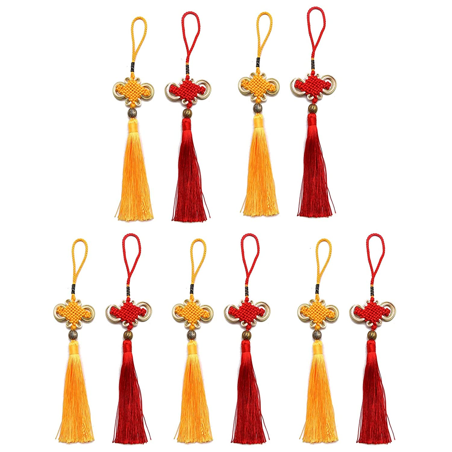 Golden Yellow and Red WSSROGY 10Pcs Chinese Knots Soft Tassels with Satin Silk Chinese Lucky Knots Symbol of Wealth Good Fortune and Health