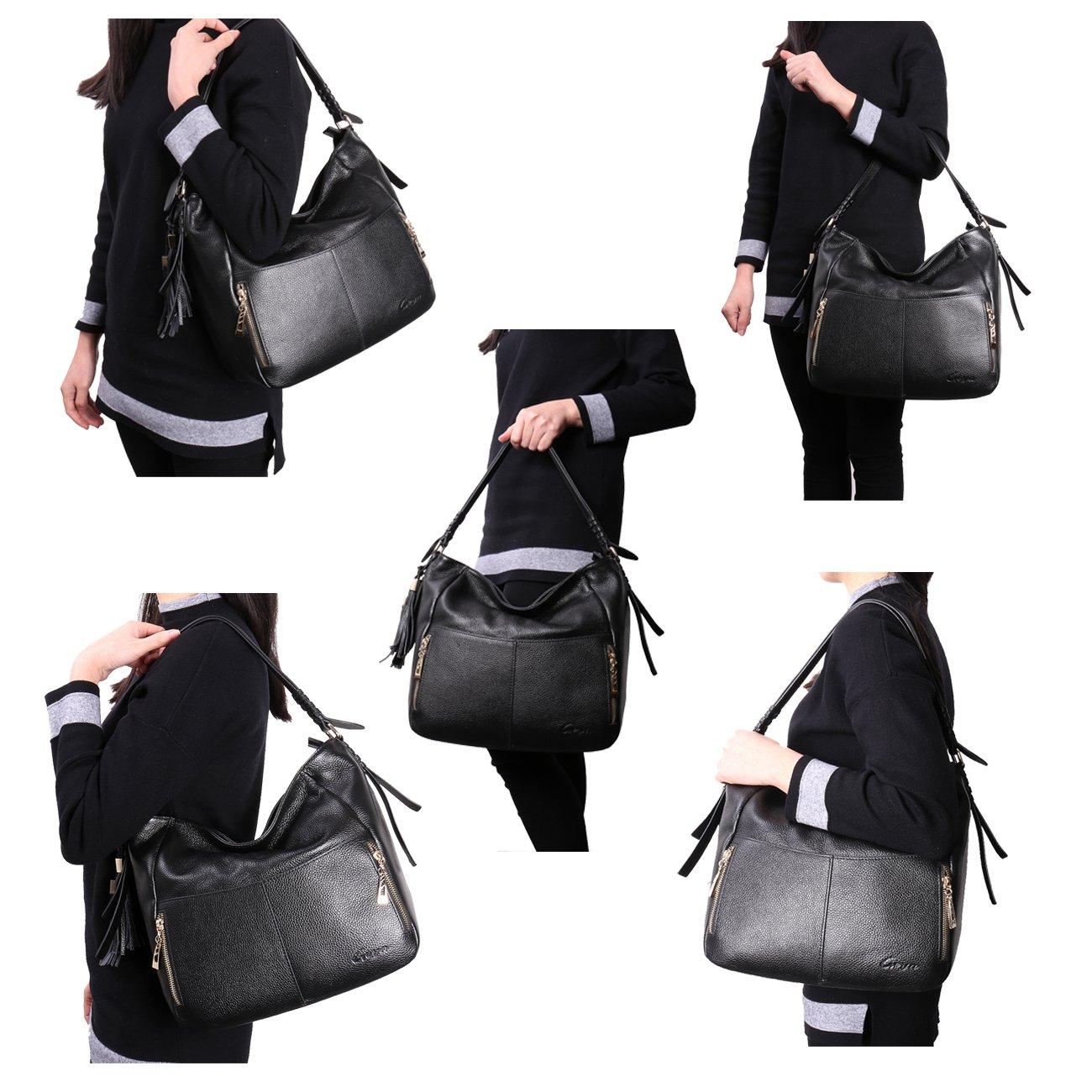 Geya Women's Fashion Genuine Leather Handbag Shoulder Handbag with Imported Soft Hot Leather (Black) by Geya (Image #5)