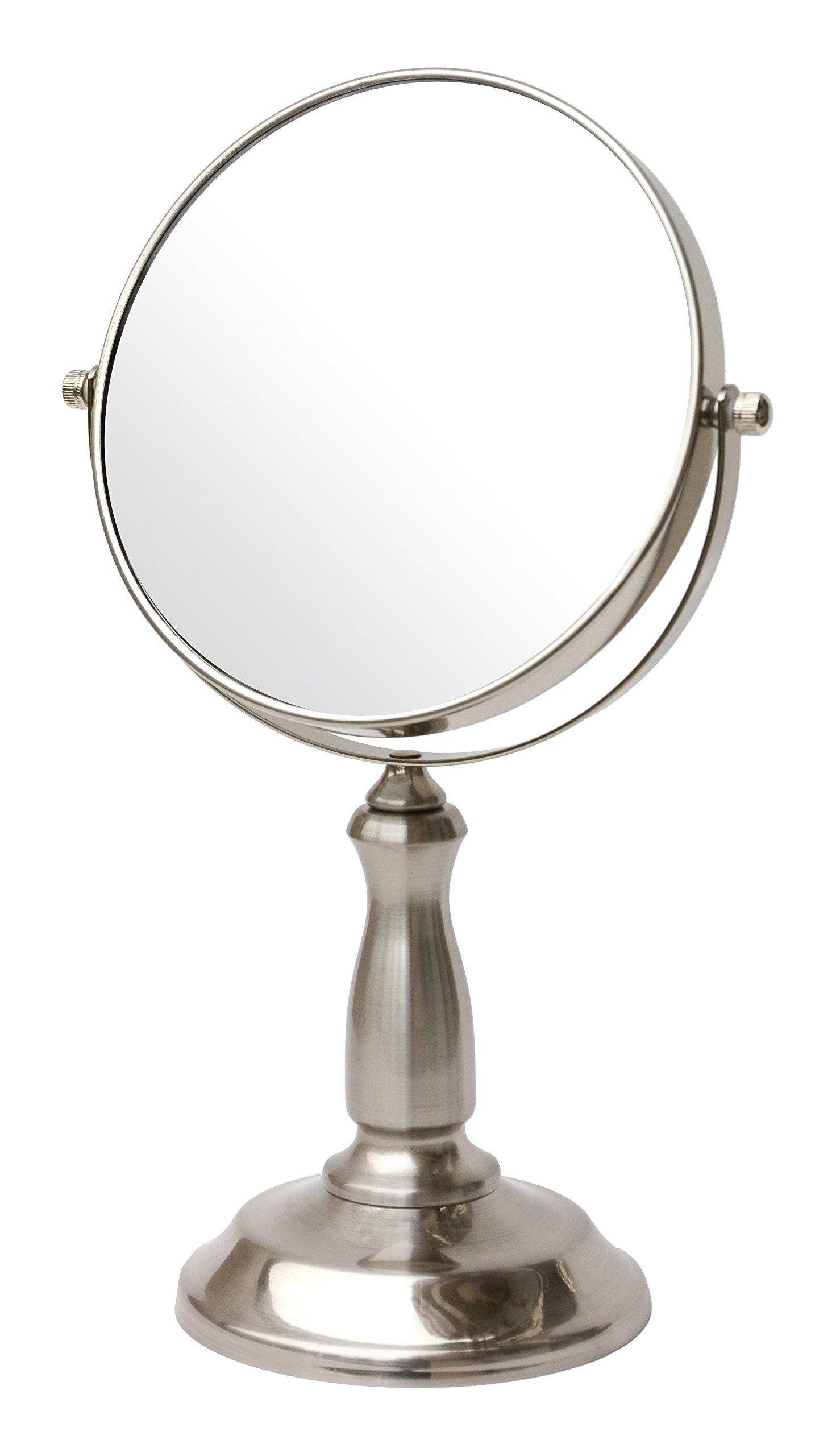 BathSense VAN1290SAT Pedestal Vanity Circular Tilting Bathroom Mirror, Satin Nickel by BathSense