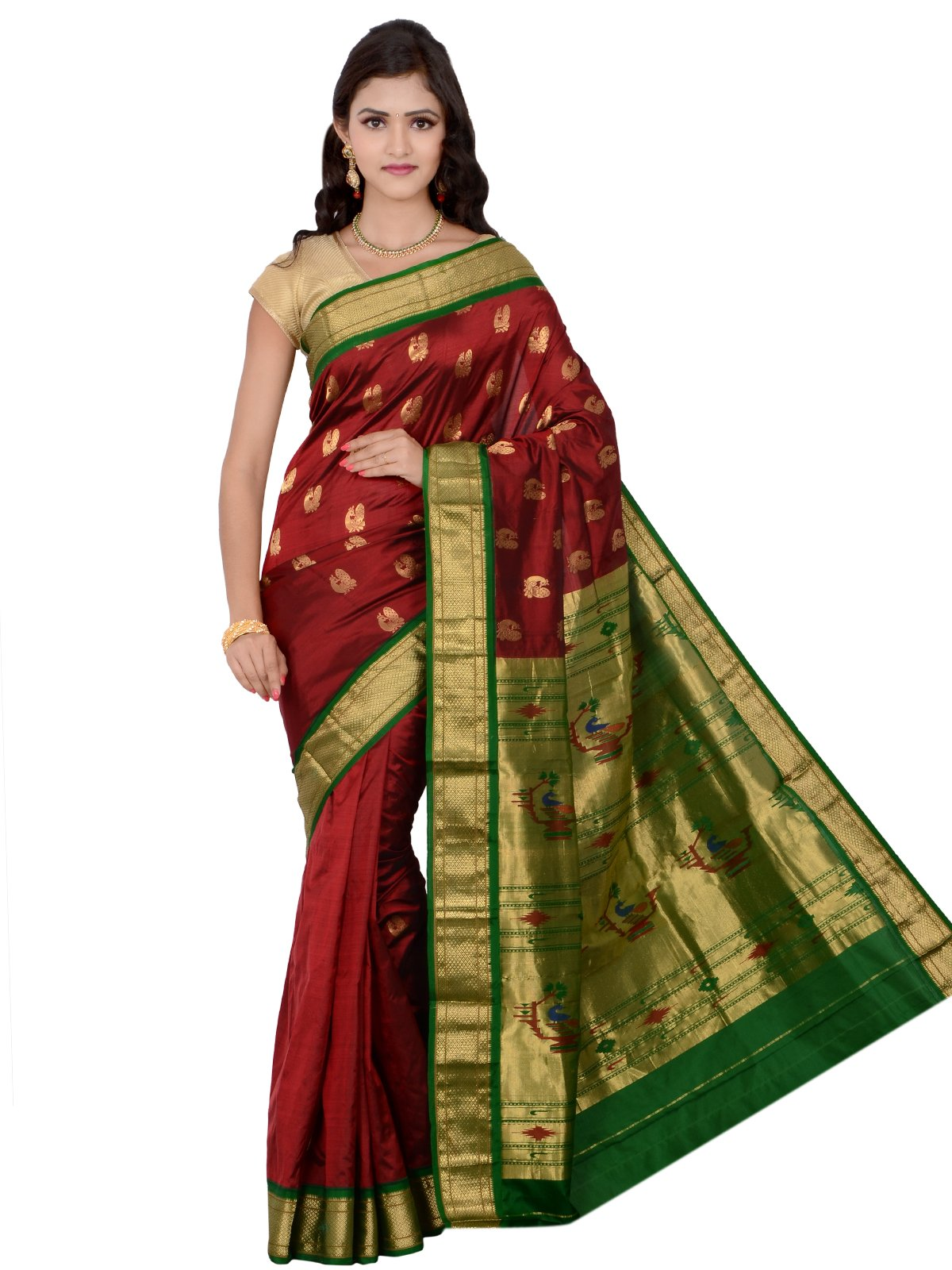 Indian Silks Peacock Design Paithani Handloom Pure Silk Saree, With Unstitched Blouse Piece (Maroon)