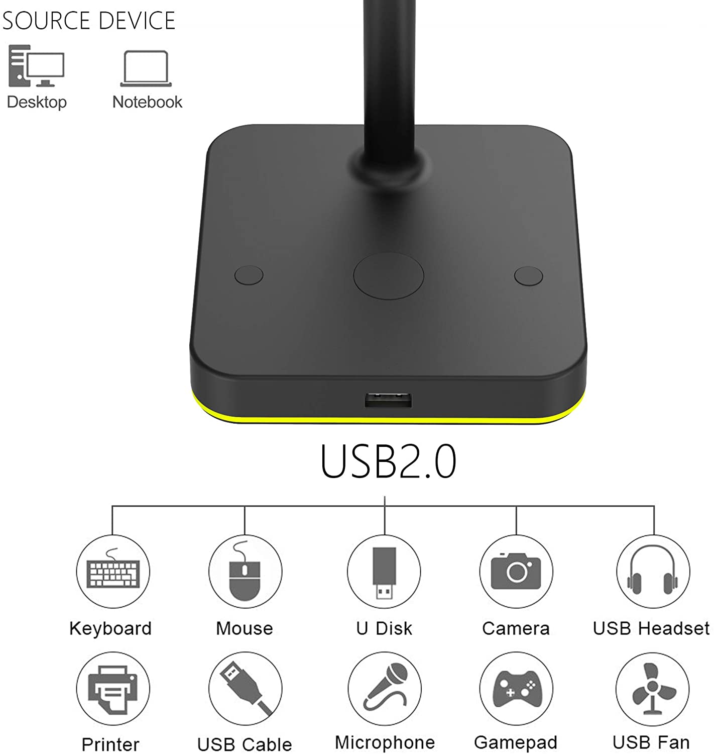 RGB Dual Headphone Stand with USB Hub KAFRI Desk Gaming Double Headset Holder Hanger Rack with 1 USB2.0 Extension Charging Port Extender Cord Suitable for Gamer Desktop Table Game Earphone Accessories