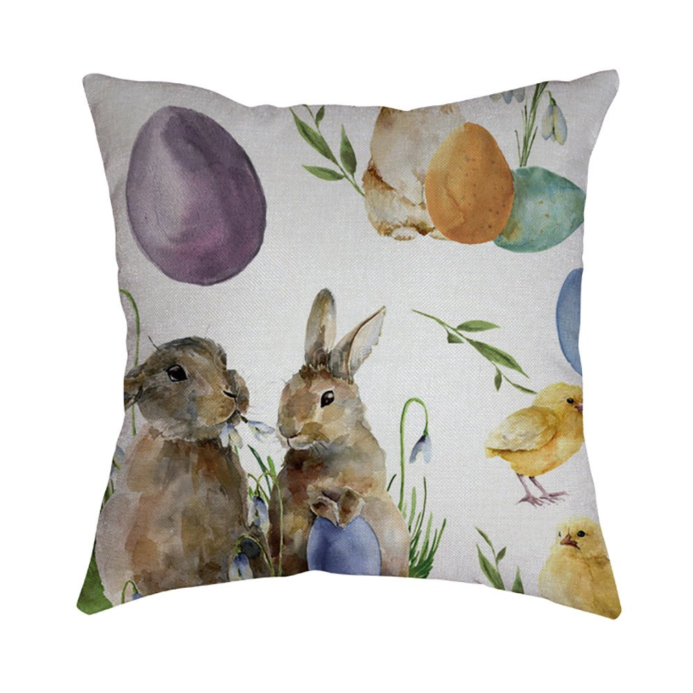 Pet1997 Happy Easter Linen Pillowcase, Festival Rabbit Pillow Case Cushion Cover, Easter Sofa Bed Home Decoration, Luxury Bedding,18 X18 Inch (I)