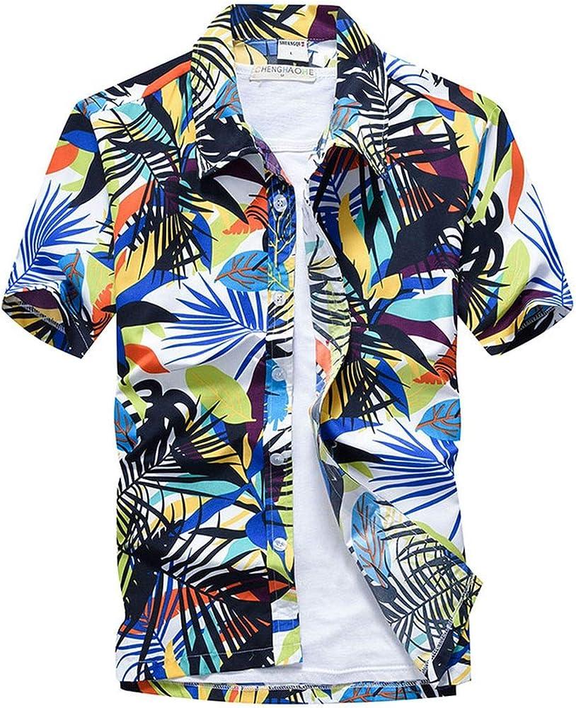 Camisa Hawaiana Rosa de Manga Corta para Hombre con Estampado de Palmeras Tropicales de Aloha - Multi - Large: Amazon.es: Ropa y accesorios