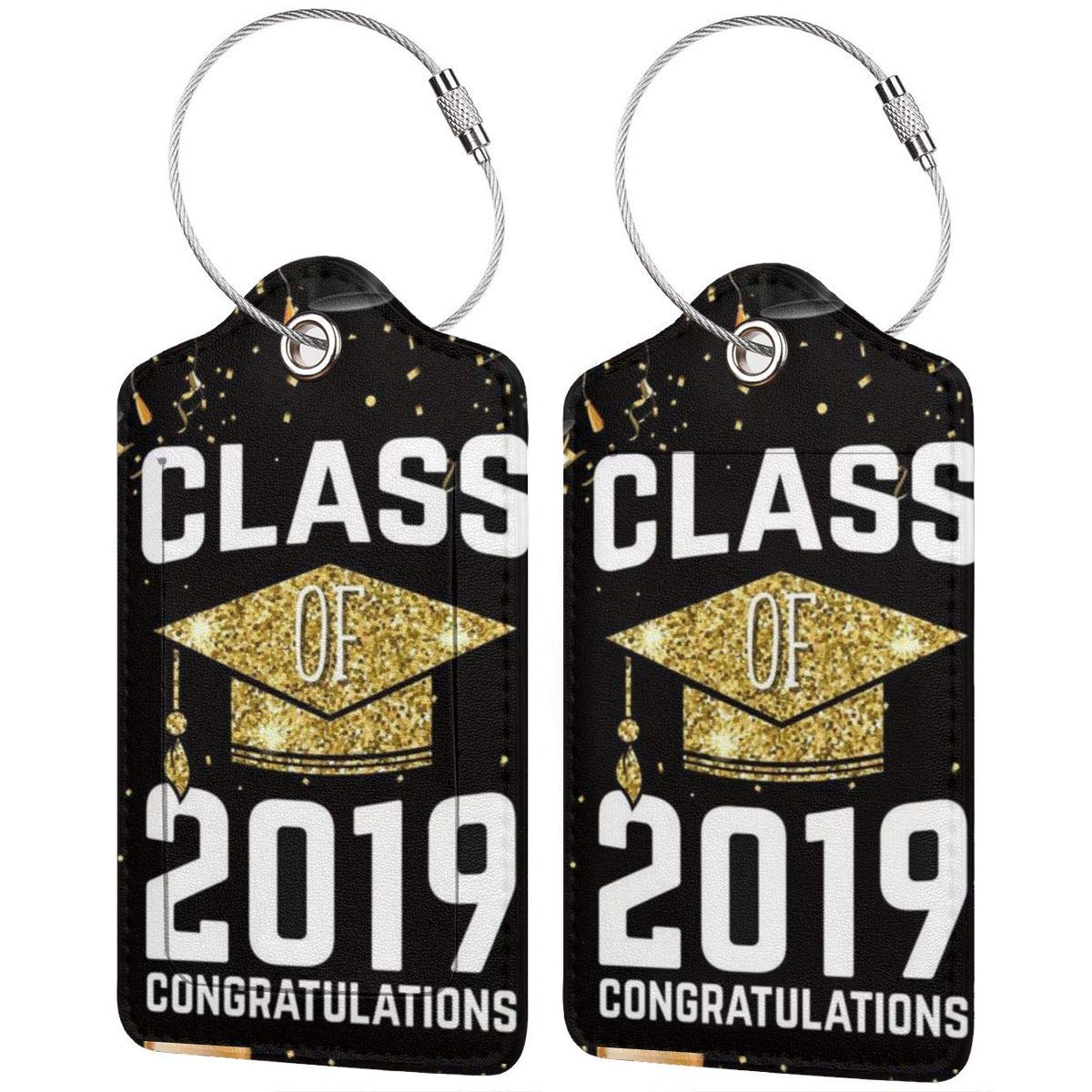 2019 School Graduations With Golden Bachelor Cap Leather Luggage Tags Personalized Address Card With Privacy Flap
