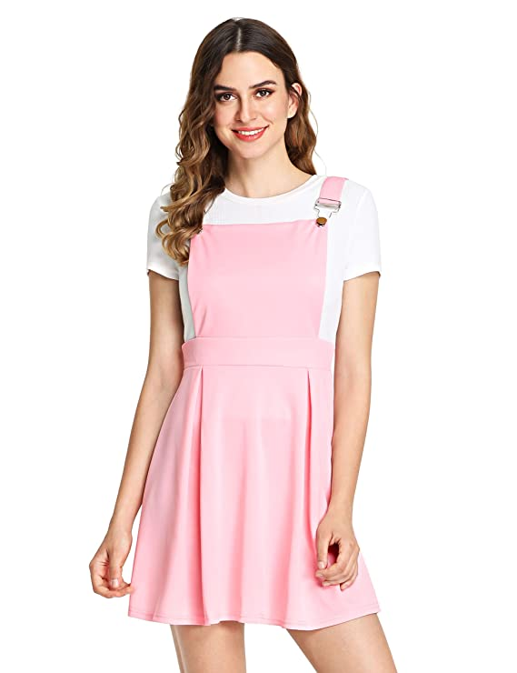 Romwe Women's Cute A Line Adjustable Straps Pleated Mini Overall Pinafore Dress by Romwe
