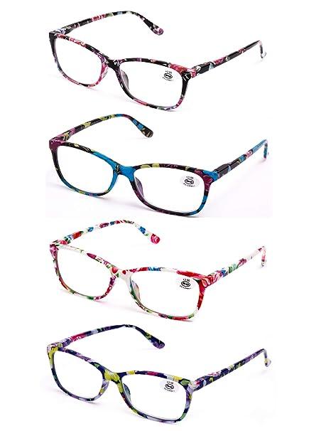Pack de 4 Gafas de Lectura Vista Cansada Presbicia, Graduadas Dioptrías +1.0hasta +3.50, Gafas de Hombre y Mujer Unisex con Montura de Pasta, Bisagras ...
