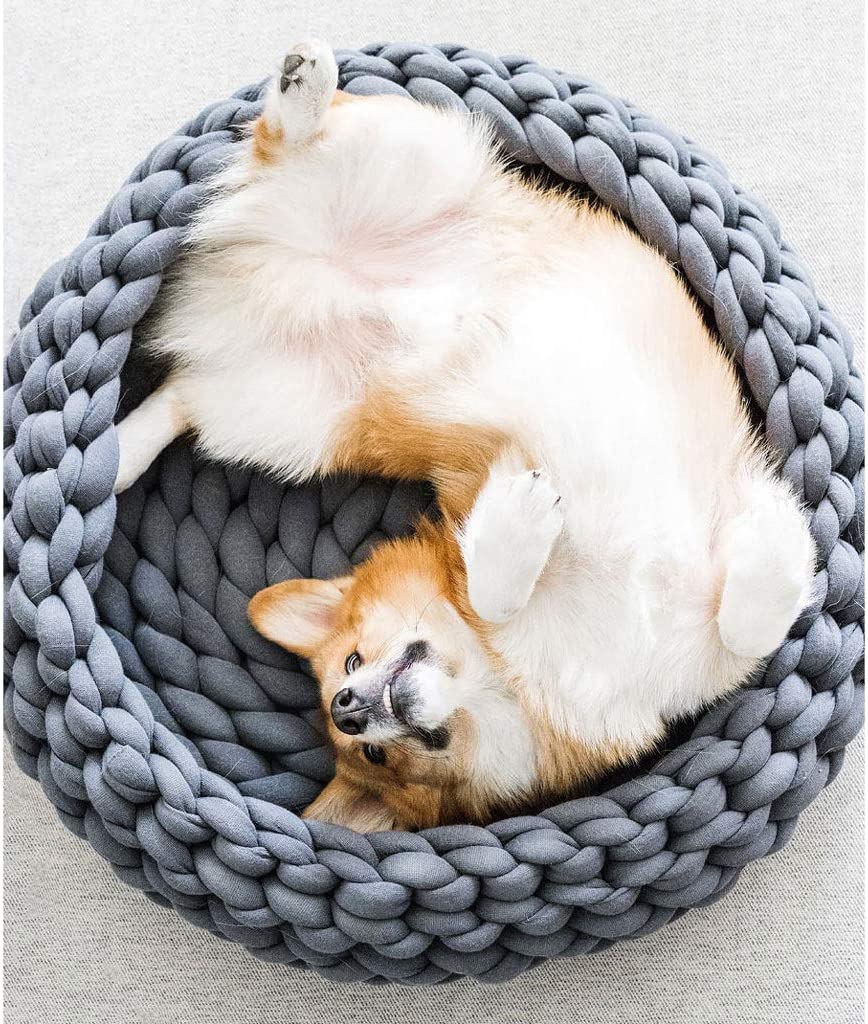 PDVCB Pet Dog Cat Calming Bed,Hand-Knitted Cat Basket Sleeping Bag Thick Woolen Cat Beds Color : Gray