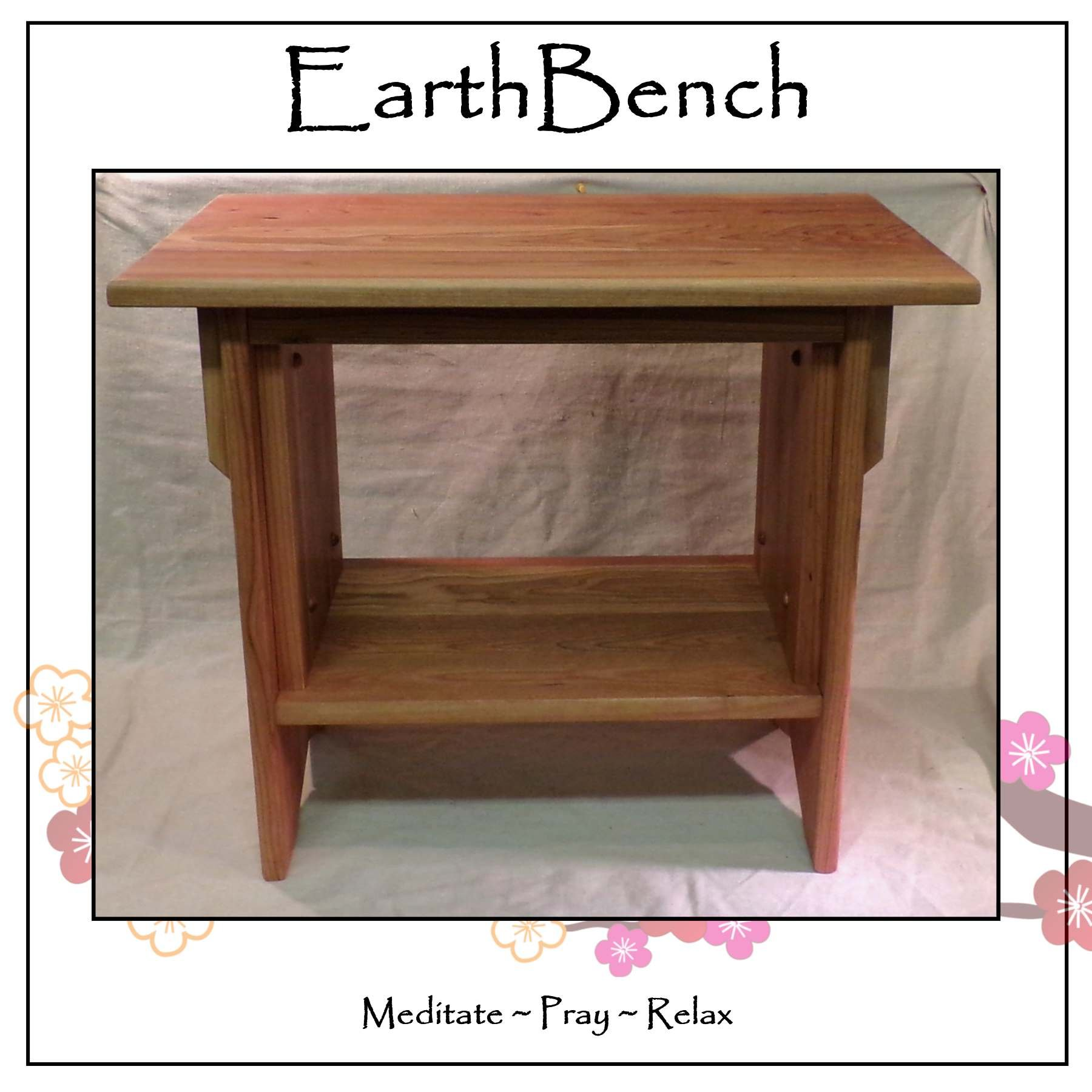 EarthBench Personal 'end-table' Altar - 20'' tall w/ 23-1/2'' by 13'' table top - Solid CHERRY WOOD for Meditation and Prayer.