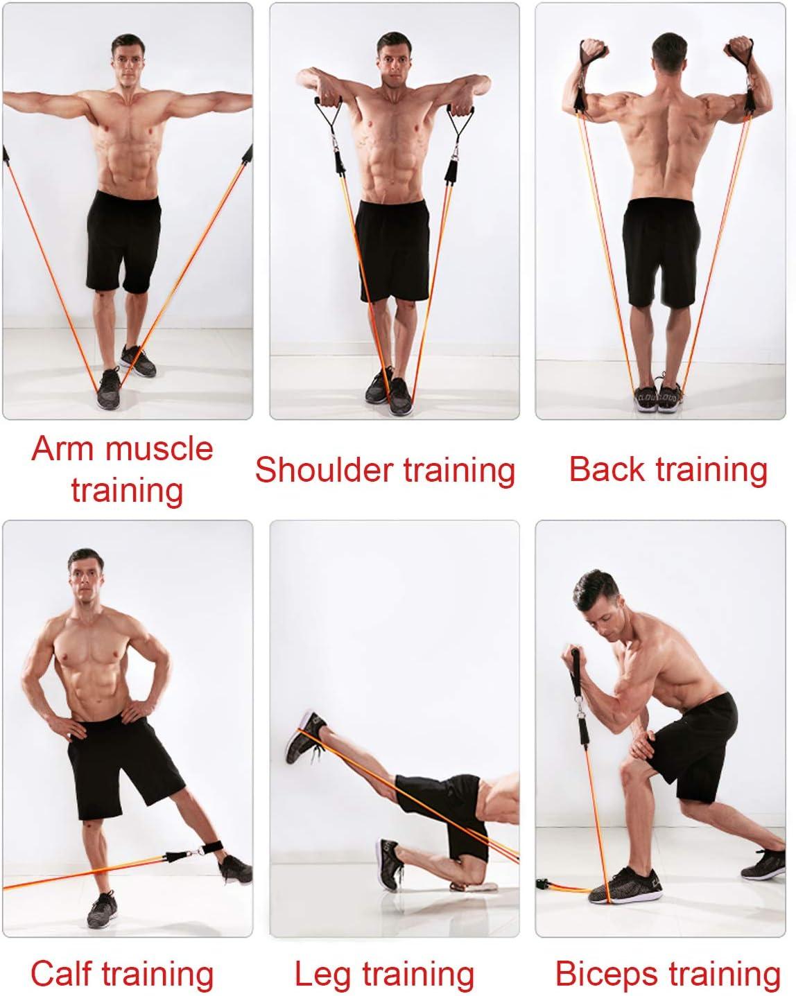 Fasce per la Resistenza AllEsercizio Allenamento per la Resistenza per Yoga//Pilates KEPEAK 11 Pezzi Set per Fitness Attrezzi da Palestra per Uomo//Donna per Gambe//Glutei