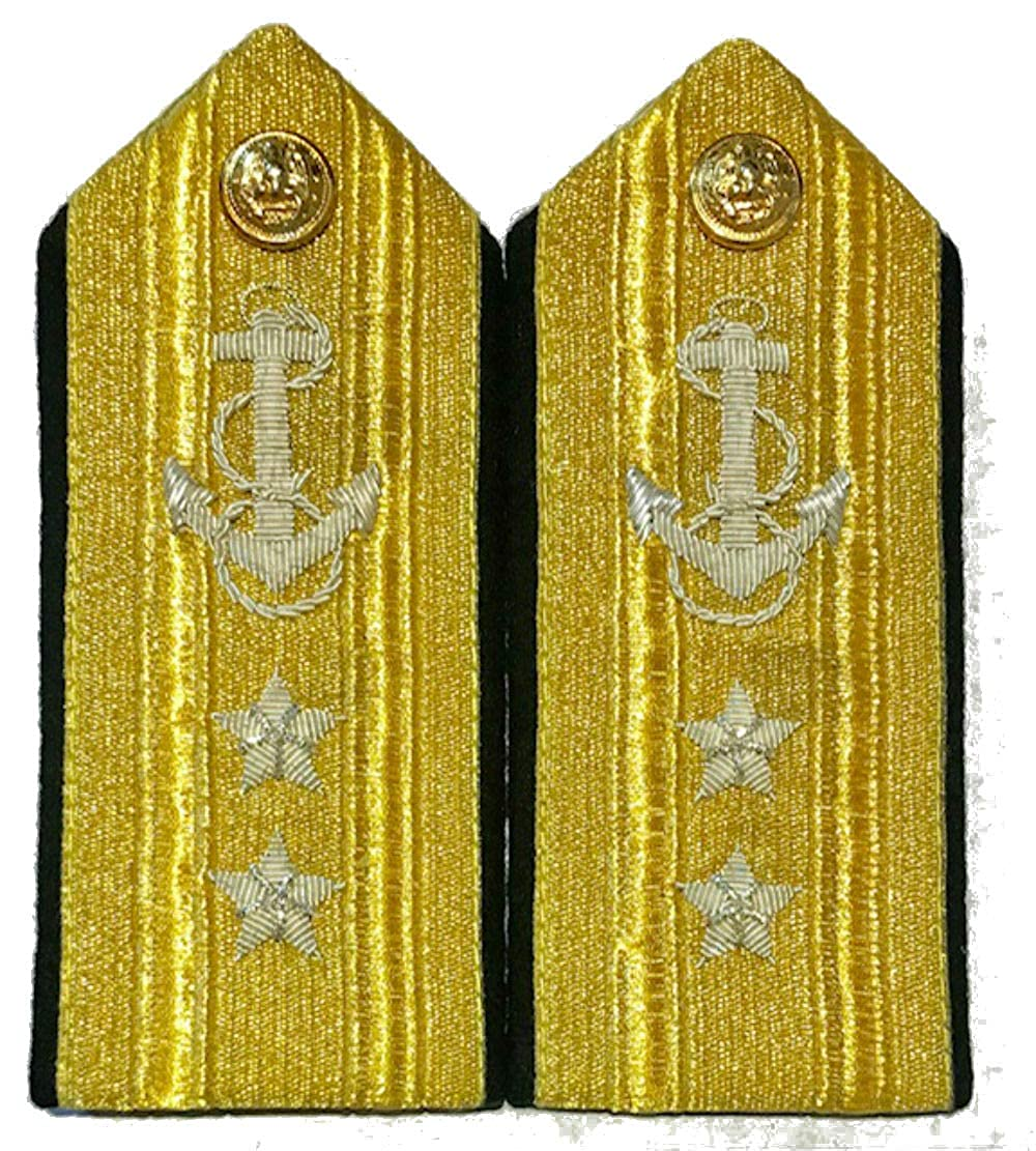 NEW US NAVY HARD SHOULDER BOARDS 2 STARS MALE LINE REAR ADMIRAL RANK Hi Quality CP MADE PAIR