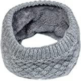 Winter Stretchable Soft Fleece Lined Thick Knit Neck Warmer Circle Scarf Windproof Neck Gaiter Face Scarf