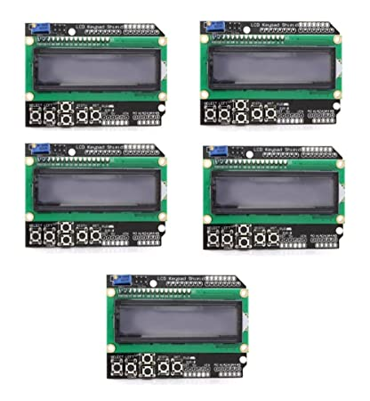 Amazon com: 5pcs LCD Keypad Shield Board Module 1602 for Arduino