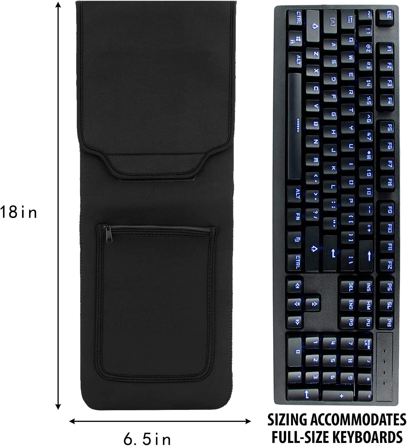 KuRoKo Keyboard Neoprene Sleeve Case(up to 18 Inches), with Wireless Mouse Storage & Cable and Charger Pouch