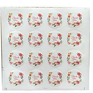 Furnido 160Pcs thank you Flowers kraft stickers Wedding Christmas Gift Cookie Candy Gift Food Packing Sealing Stickers Letter Seals Label cake boxes Party Favour Flower Pattern Gift Decoration