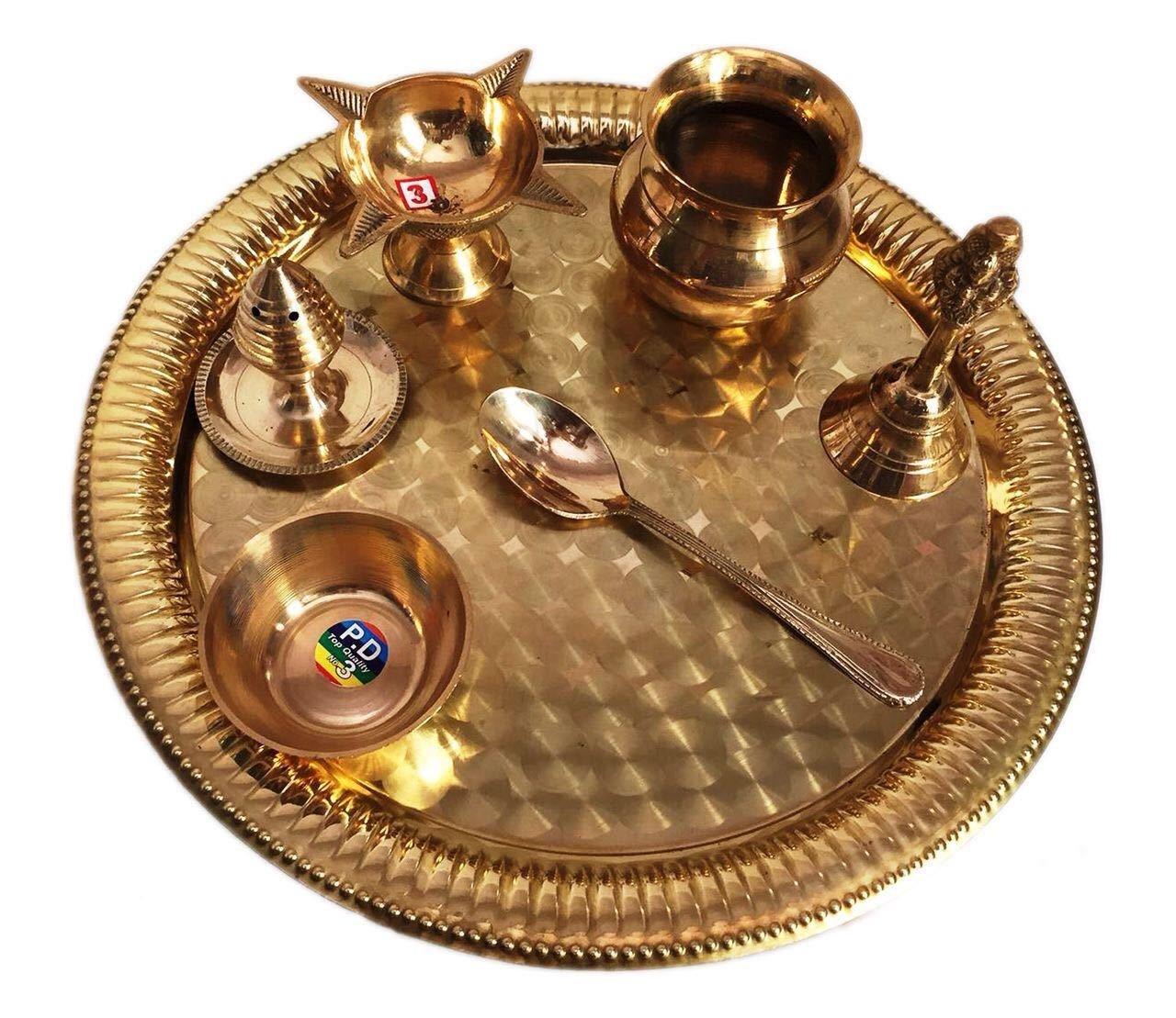 MegaCraft Home & Temple Puja Use Handmade Designer Brass Stylish Set Brass Product