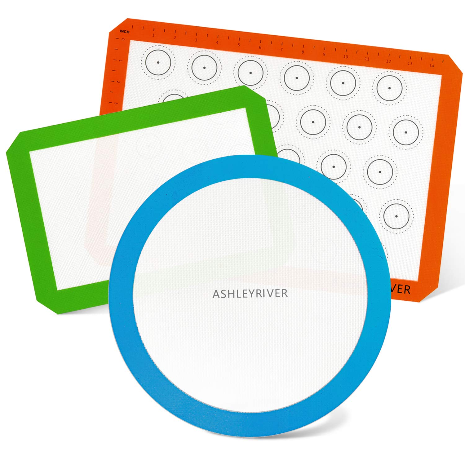 AshleyRiver Silicone Baking mats Liners 3 Pack Standard Half Size, Quarter & Round Sheets Reusable, Soft, Non-Stick, Non-Toxic for Bake Pans & Rolling - Macaroon/Pastry/Pie/Cookie/Pizza Making