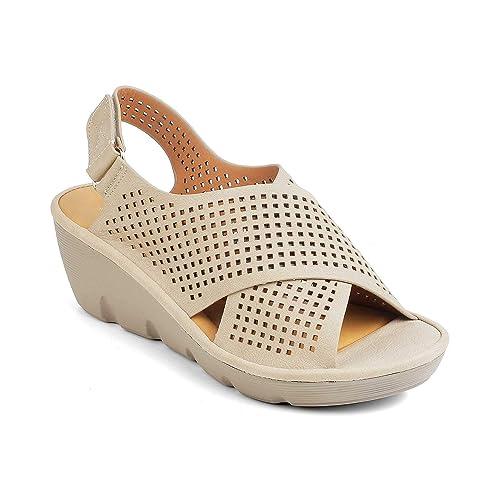 a26533a1bd7 tresmode Women s Light Weight Casual Wedge Heel Platform Sandals ...