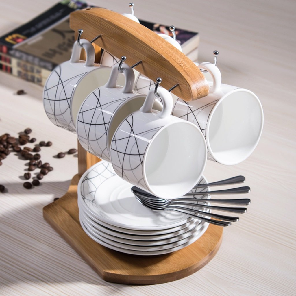 Tazas de café WSSF Set de 6 Tazas de Agua de 150 ML Set de Taza de café Simple Taza de cerámica con Cuchara de platillo y portavasos Estilo Personalizado ...