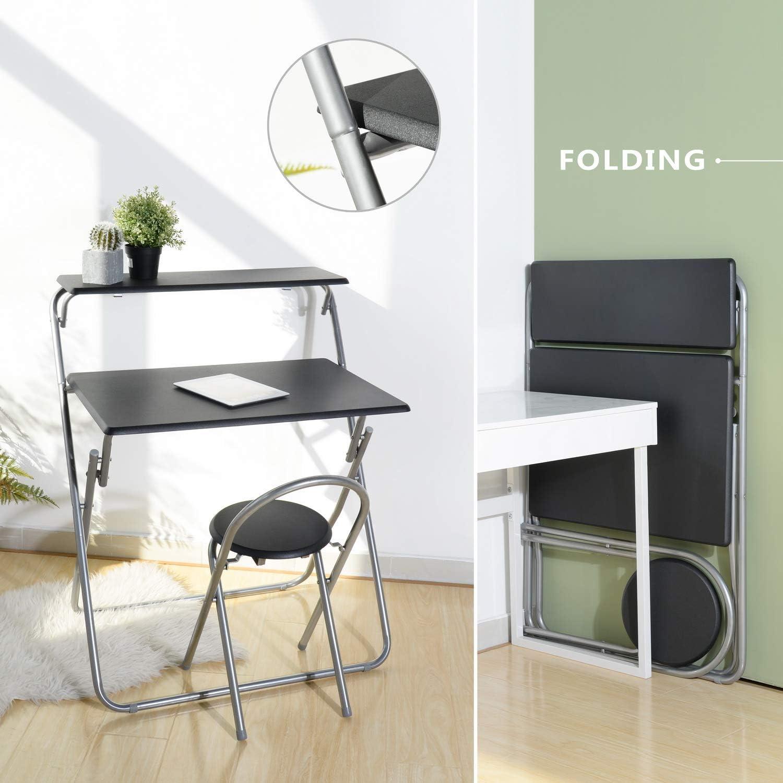 House in a box Set scrivania e Sedia Pieghevole per Teenager Student Nero Home Office Mobile Workstation Laptop Desk Cart Attacco Piccolo Spazio con 2/Ripiani