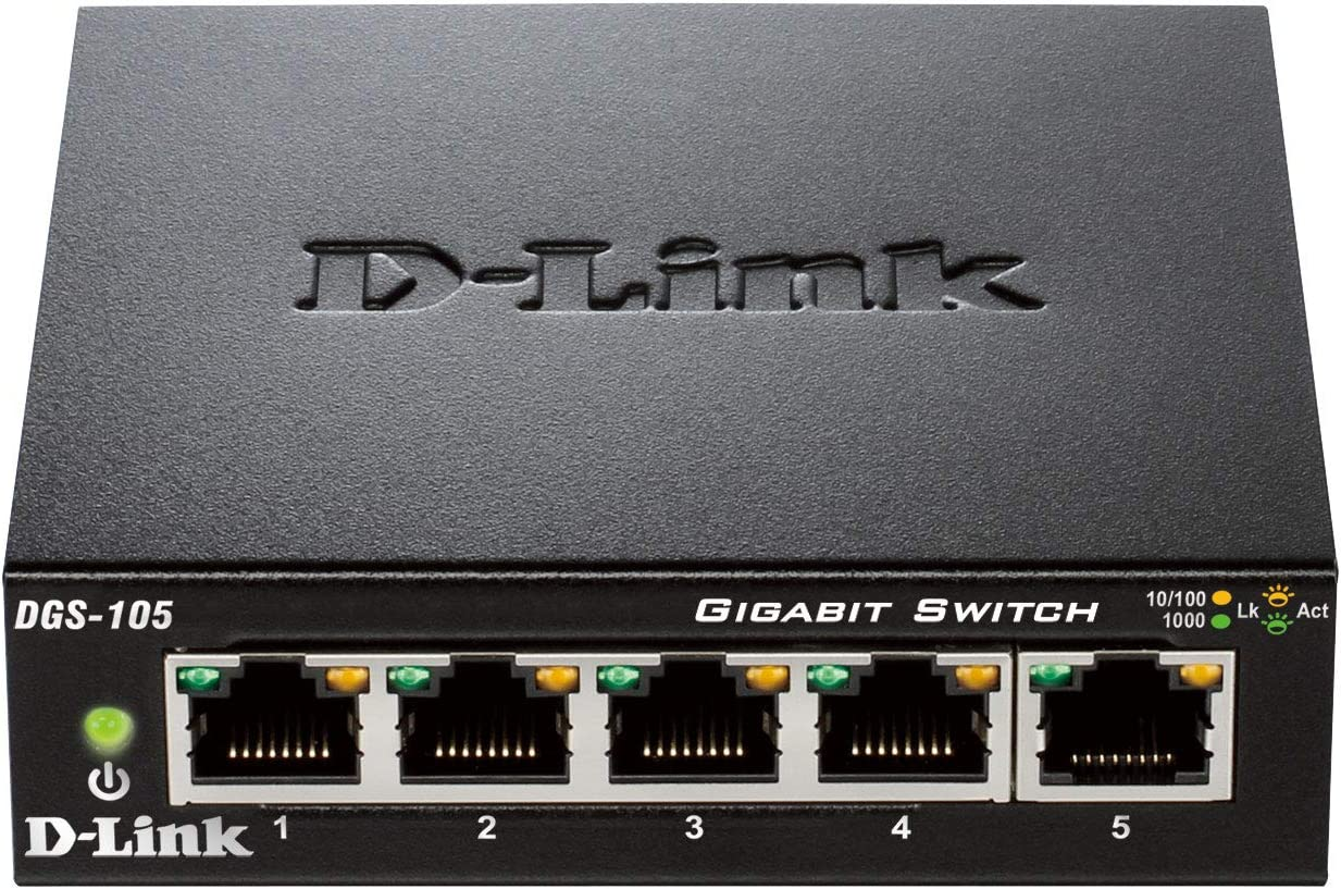 D-Link DGS-105 - Switch de red (5 puertos Gigabit RJ-45, 10/100 ...