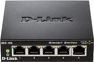 D-Link Ethernet Switch, 5 Port Gigabit Unmanaged Metal Desktop Plug and Play Compact (DGS-105)