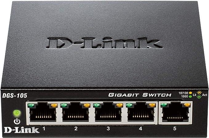 comprar D-Link DGS-105 - Switch de red (5 puertos Gigabit RJ-45, 10/100/1000 Mbps, chasis metálico, IGMP snooping, autosensing, priorización de tráfico QoS 802.1p) color negro
