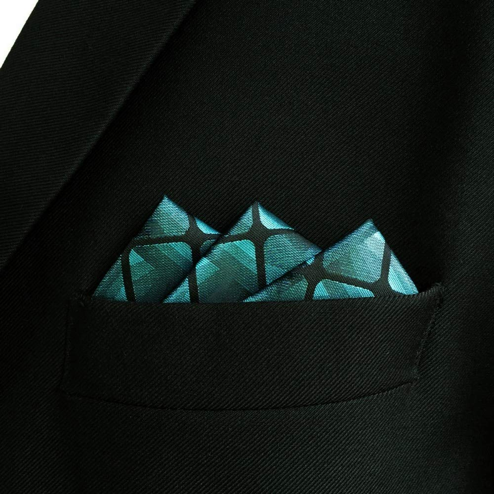 SHLAX/&WING New Design Mens Pocket Square Checkered Checks Teal Blue Green for Men Suits