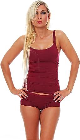 Schöller - Camiseta interior de lencería para mujer, con tirantes estrechos, algodón con elastano, en color granate/rojo oscuro, en las tallas 38-48: Amazon.es: Ropa y accesorios