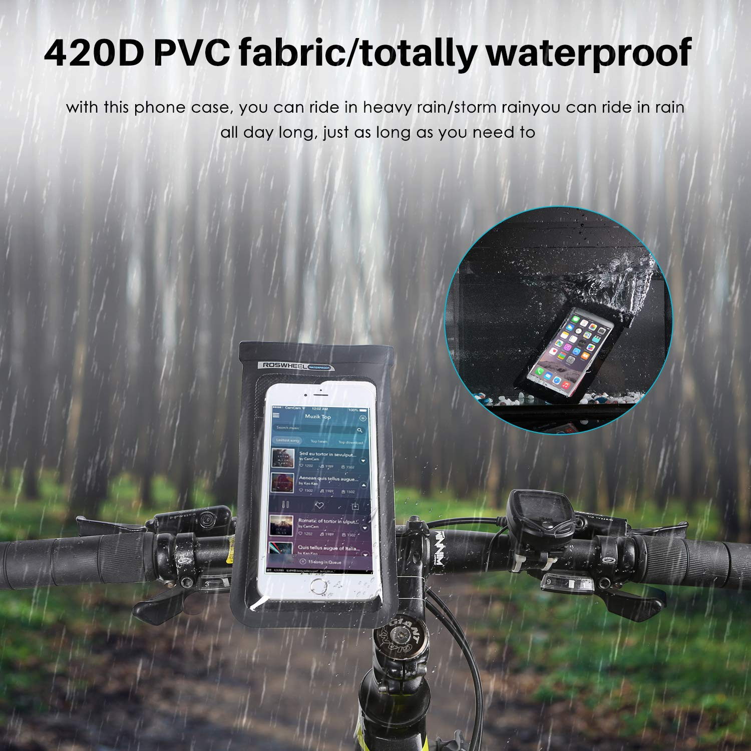 Bike/Bicycle Phone Holder bedee Bike/Bicycle Phone Mount Bike Waterproof Phone Case with Mount Base Touch ID/Screen Friendly Phone Pouch for 4-6 Inch Screen Smartphone Stem Cycling Mount for iPhone X 8 Plus 77 Plus 6 6S Plus Samsung Galaxy
