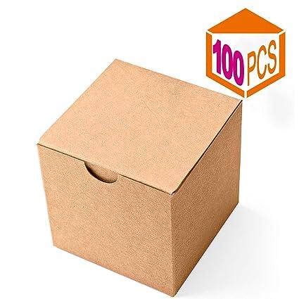 Mesha Kraft cajas 100 unidades 3 x 3 x 3 pulgadas, marrón ...