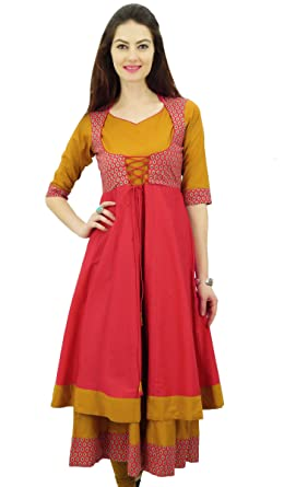 Phagun Designer Double Layer Anarkali Kurti Dori Jacket Style Indian