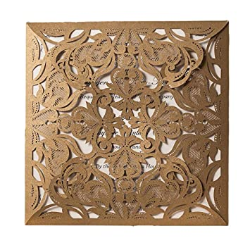 wishmade gold square lace laser cut wedding invitations kits with floral cards for birthday bridal shower