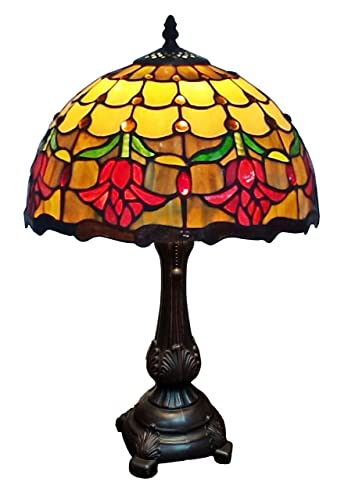 Amora Lighting Tiffany Style Table Lamp Banker 19 Tall Stained Glass Red Yellow White Floral Tulips Antique Vintage Light Decor Nightstand Living Room Bedroom Handmade Gift AM1094TL12B, Multicolored