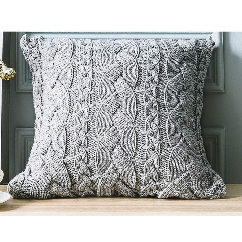 ZDNALS Square Cushion, Wool Knit Pillow, Solid Color Home Decoration Pillow 45cm×45cm Pillow (Pattern : B) by ZDNALS