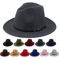 40ae6f415f5130 Women Belt Buckle Fedora Hat Vintage Wool Jazz Hat Panama Hat
