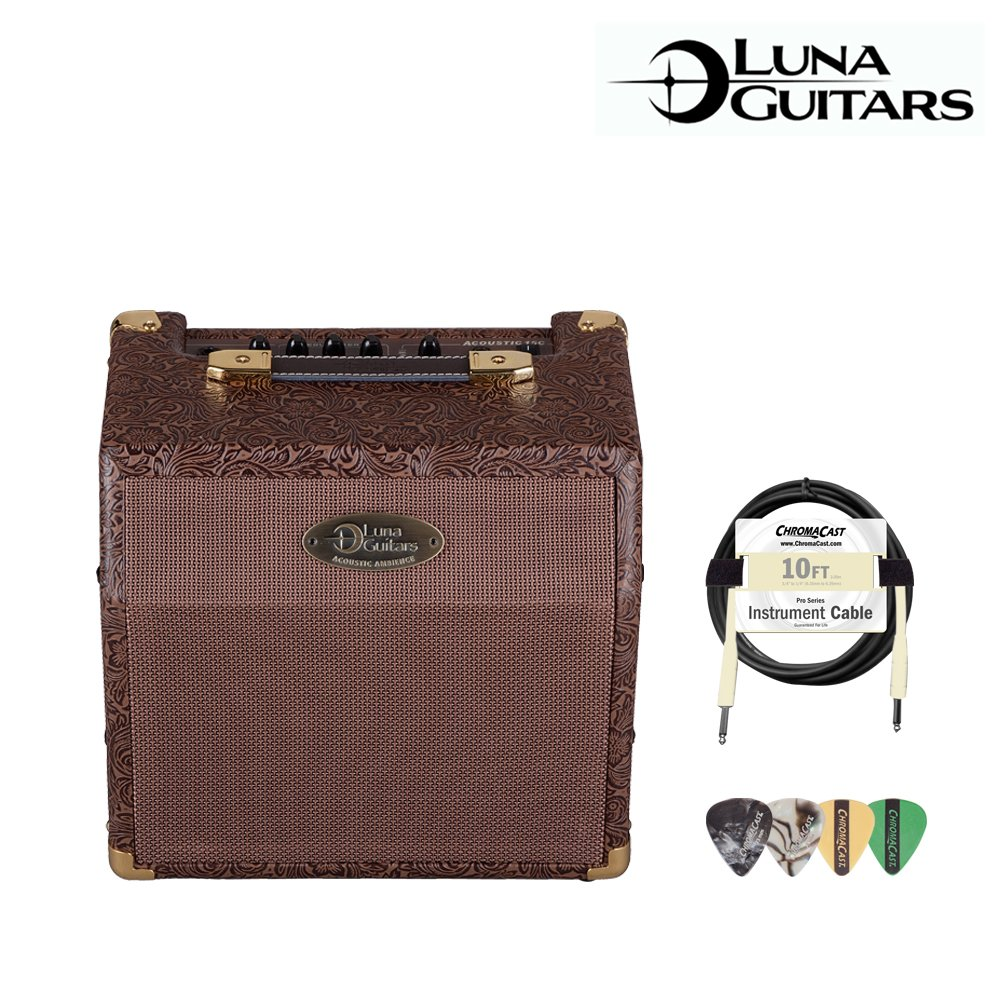 Luna Guitars 15-Watt Acoustic Ambience Amp (AA-15) with 10ft Cable & ChromaCast/GoDpsMusic Pick Sampler