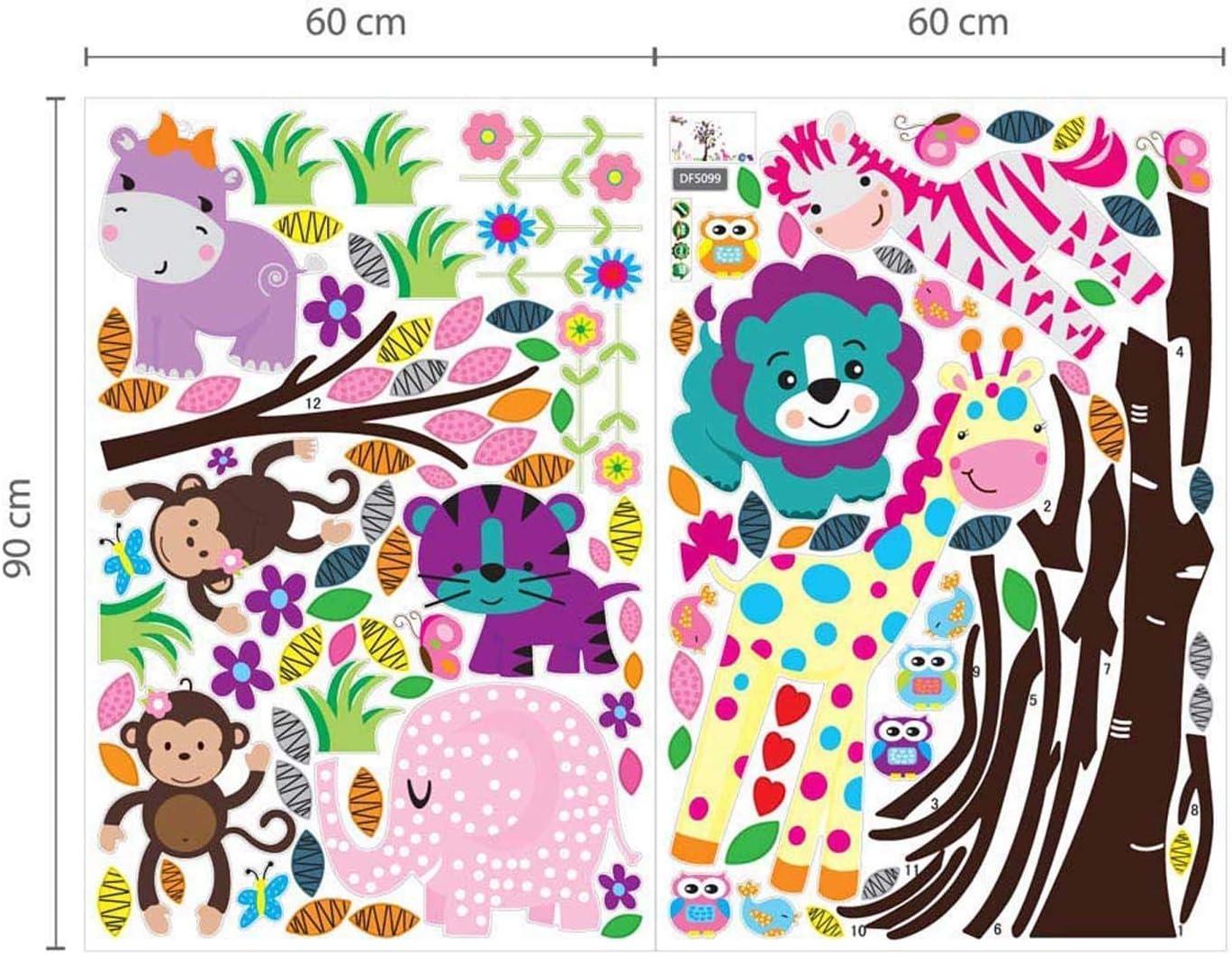 Walplus WS5031 DF5099 Bande dessin/ée joyeux animaux//arbre et herbe