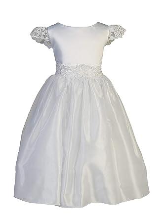 9b0c6e7cc Ellie Kids Little Girls White Satin Lace Angel Sleeve Tulle Taffeta Flower Girl  Dress 4
