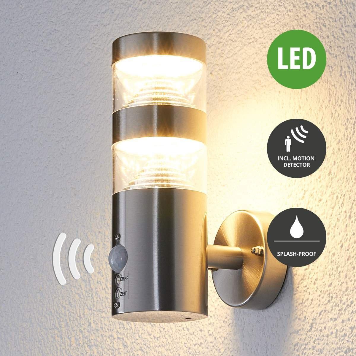 Lampenwelt LED Wandleuchte außen Lanea mit Bewegungsmelder (spritzwassergeschützt) (Modern) in Alu aus Edelstahl (1 flammig, A+, inkl. Leuchtmittel) | LED-Außenwandleuchten Wandlampe, Led Außenlampe, Outdoor Wandlampe für Außenwand/Hauswand, Haus, Terrasse