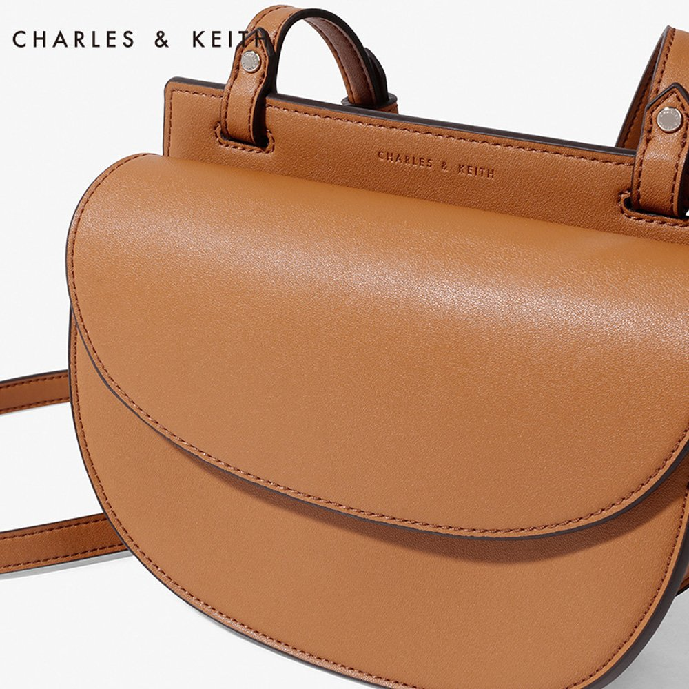 Charles Keith Pu Faux Leather Half Moon Crossbody Bag Ampamp Mini Messenger Saddle Color Camel Sports Outdoors