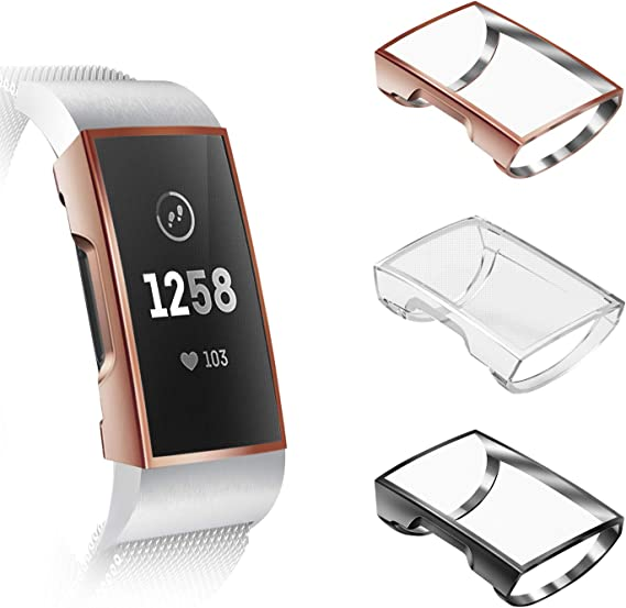 Reety Compatible with Fitbit Charge 3 Screen Protector Rose-Gold/&Clear 2 Pack TPU Ultra Soft Slim Full-Around Protective Bumper Silicone Case Cover for Fitbit Charge 3 /&Charge 3 SE