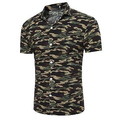 Kingprost Kurzarm Hemden Herren Slim Fit Tarnung Shirt T Shirts MäNner  Poloshirt Sommer Oberteile Kurzarmhemden mit ed46f1d490
