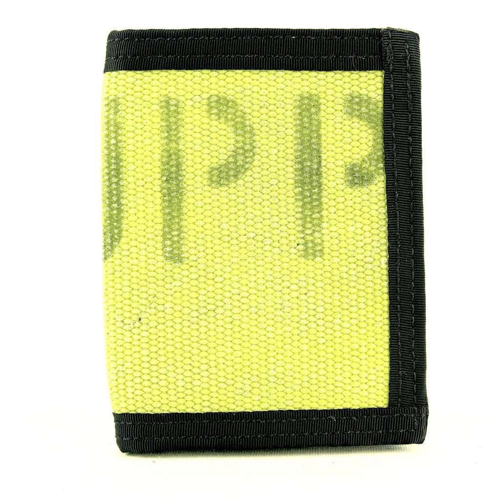 """Recycled Firefighter Wallet – """"Captain Bifold"""" – Fire Hose Or Combat Boot Leather Wallet – Recycled & Made in USA – Unique Wallets for Men (Yellow)"""