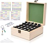 Beschan 25 Slot Wooden Essential Oil Case Natural Pine Storage Organizer Case Holds 100/20/15/10/5 ml Aromatherapy Bottles Free EO Labels, Bottle Opener and Droppers