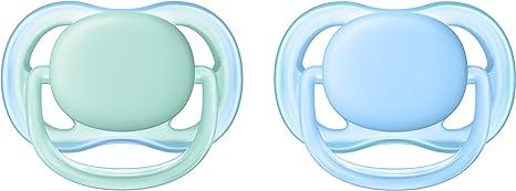 Chupete Ultra soft pacifier, Ortod/óntico, Azul, Verde, Ni/ño//ni/ña, 6 mes 2 pieza s Philips AVENT SCF342//20 es