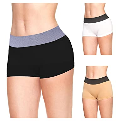 204b6cf4cd LastFor1 Women Breathable Underwear Boyshorts Panties Briefs Plus Size 3  Pack S