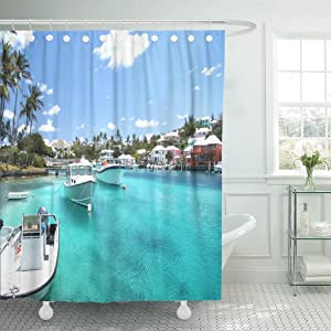 Emvency Shower Curtain Yacht Boats on Blue Sea Water in Tropical Lagoon Waterproof Polyester Fabric 60 x 72 Inches Set with Hooks