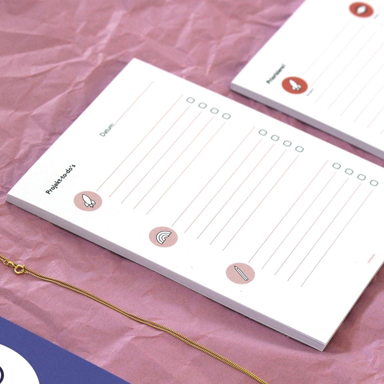 TO DO Listen Block DIN A5 Notizblock A5-Format 50 Blatt Projekte organisieren Hochformat nachhaltig gedruckt