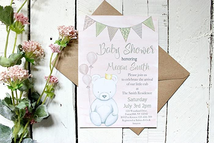 Amazon Com Teddy Bear Baby Shower Invitations Girl Baby Shower