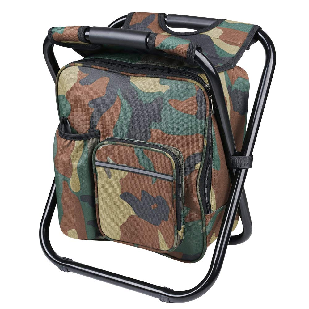 Lucky Monet Foldable Multi-Function Backpack Beach Chair Seat Warm Cooler Bag Camping Storage Stool for Outdoor Fishing Camping Hiking Picnic Beach (Blue/Green/ Camouflage)